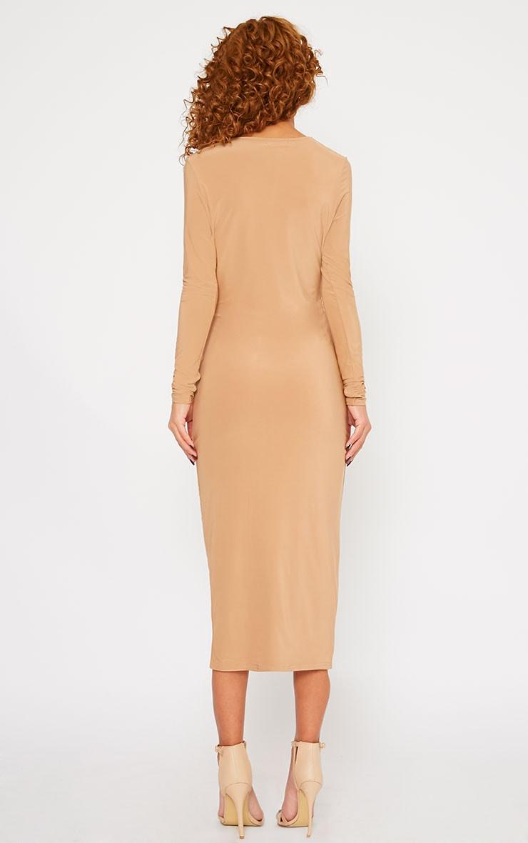 Christa Camel Slinky Plunge Split Front Midi Dress 2