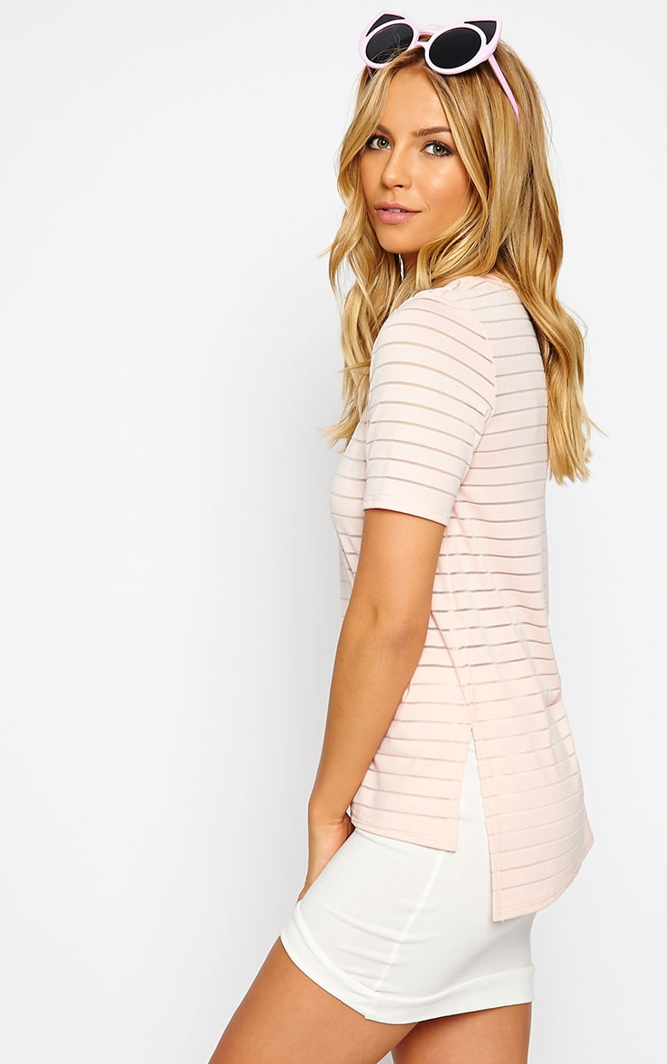 Elodie Nude Stripe Burnout T-Shirt 4