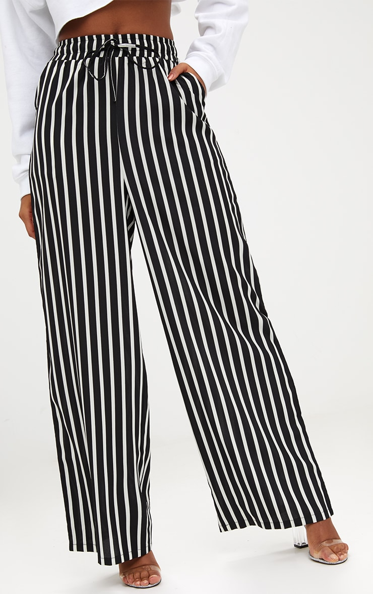 Monochrome Stripe Wide Leg Trousers 5