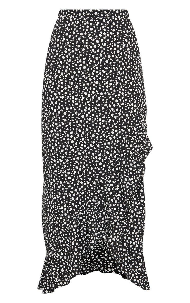 Black Dalmation Print Woven Frill Hem Midi Skirt 5