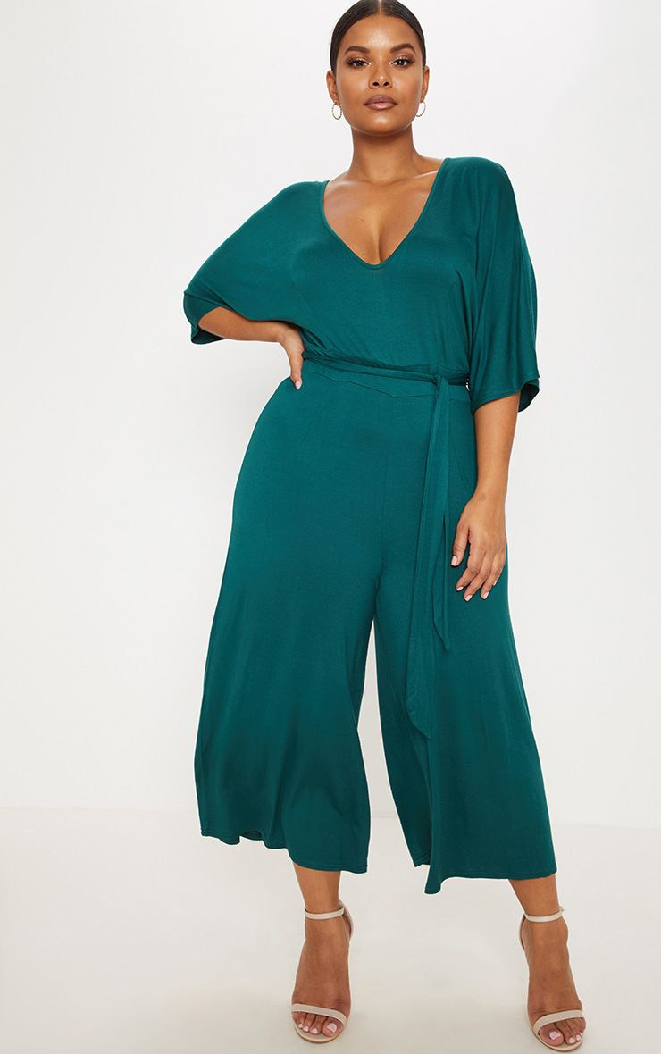 Plus Emerald Green Culotte Jumpsuit 1