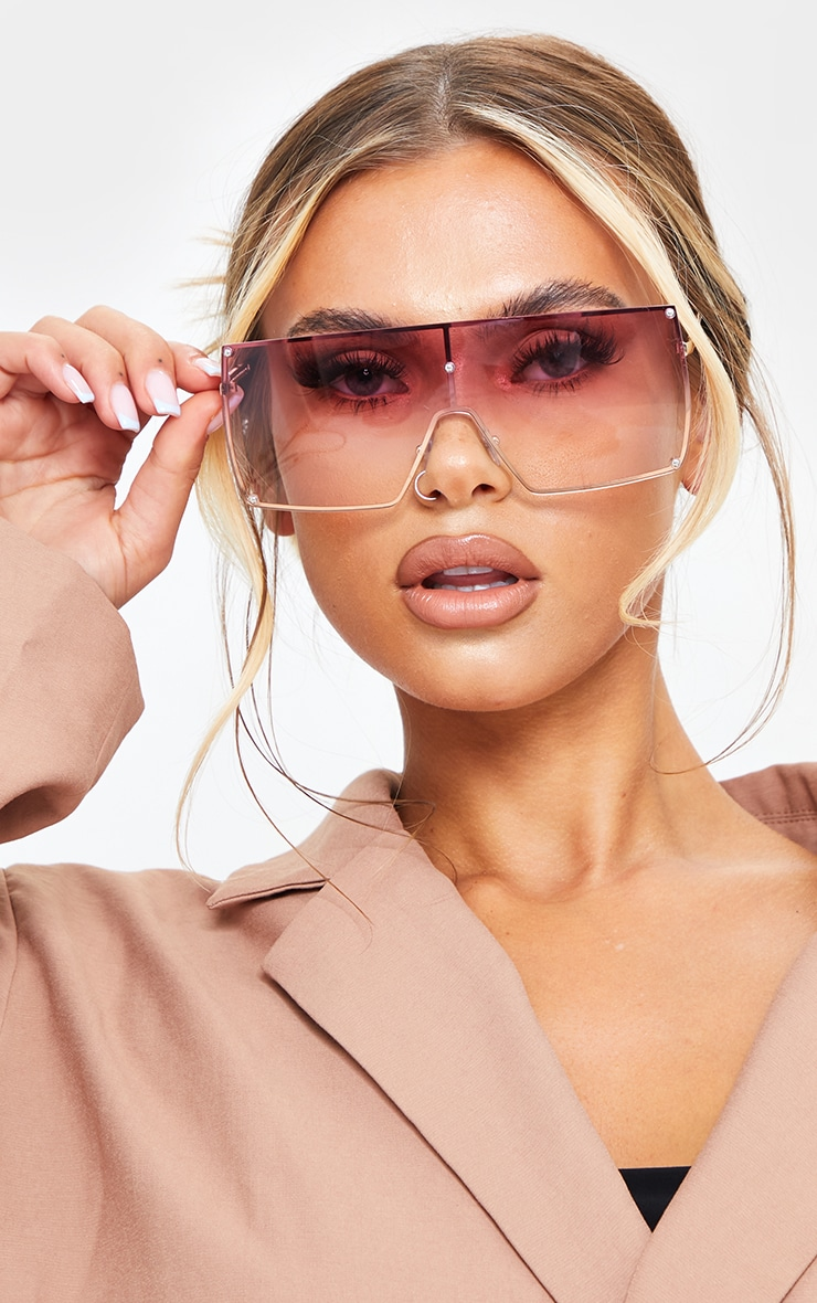 Pink Ombre Oversized Square Frame Sunglasses 1