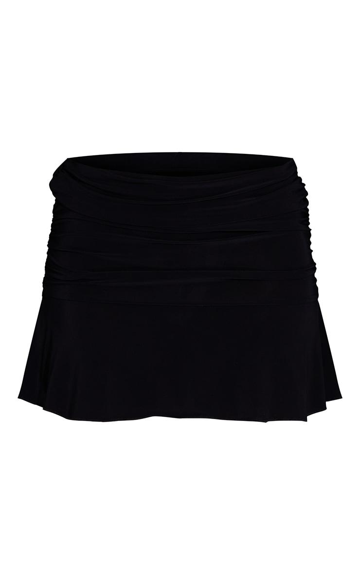 Black Ruched Slinky Frill Hem Mini Skirt 6