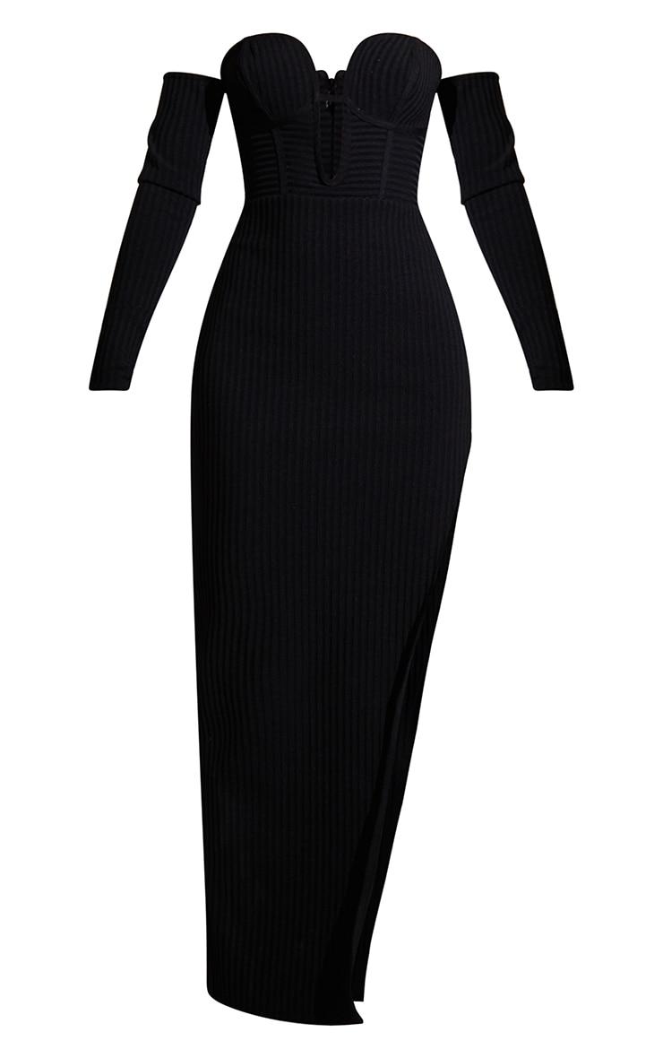 Black Bandage Ribbed Bardot Plunge Midaxi Dress 5