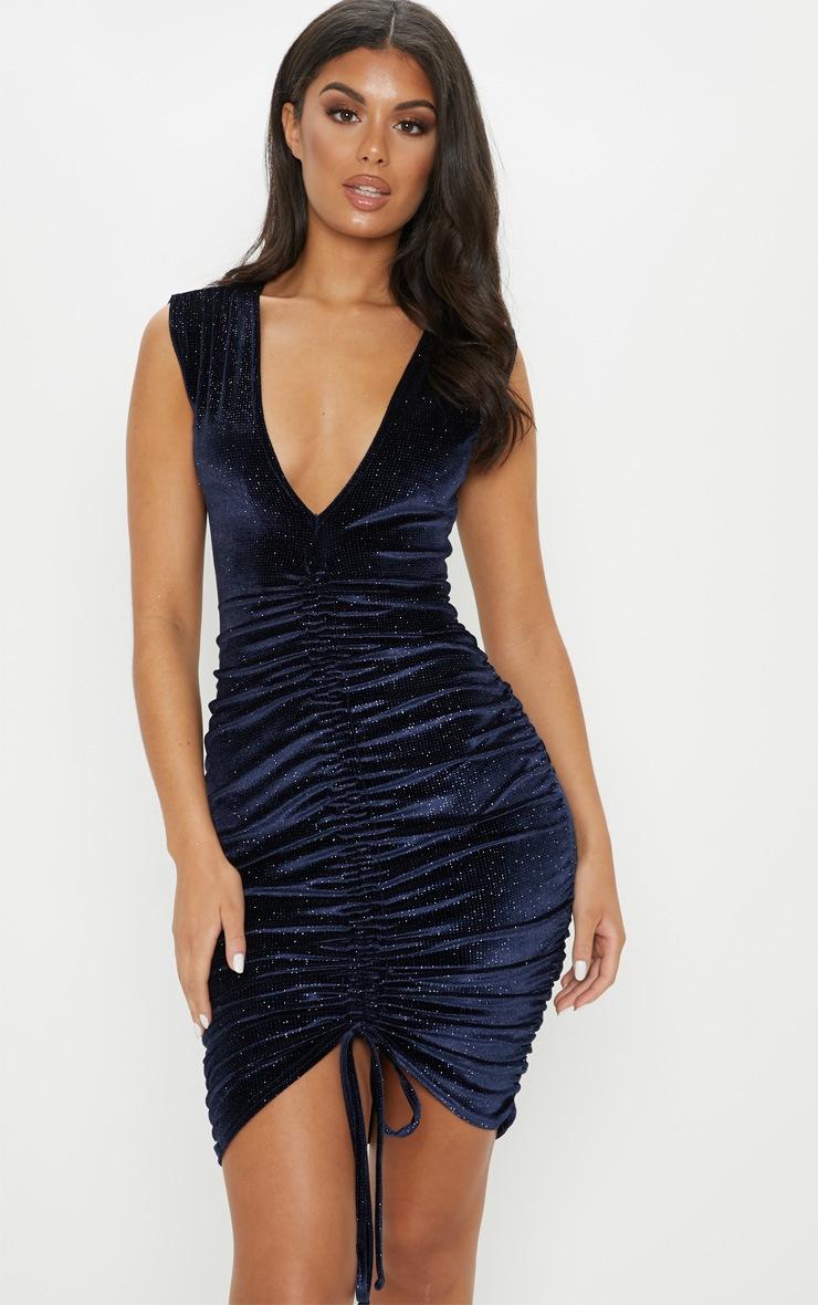 Navy Glitter Velvet Ruched Sleeveless Bodycon Dress