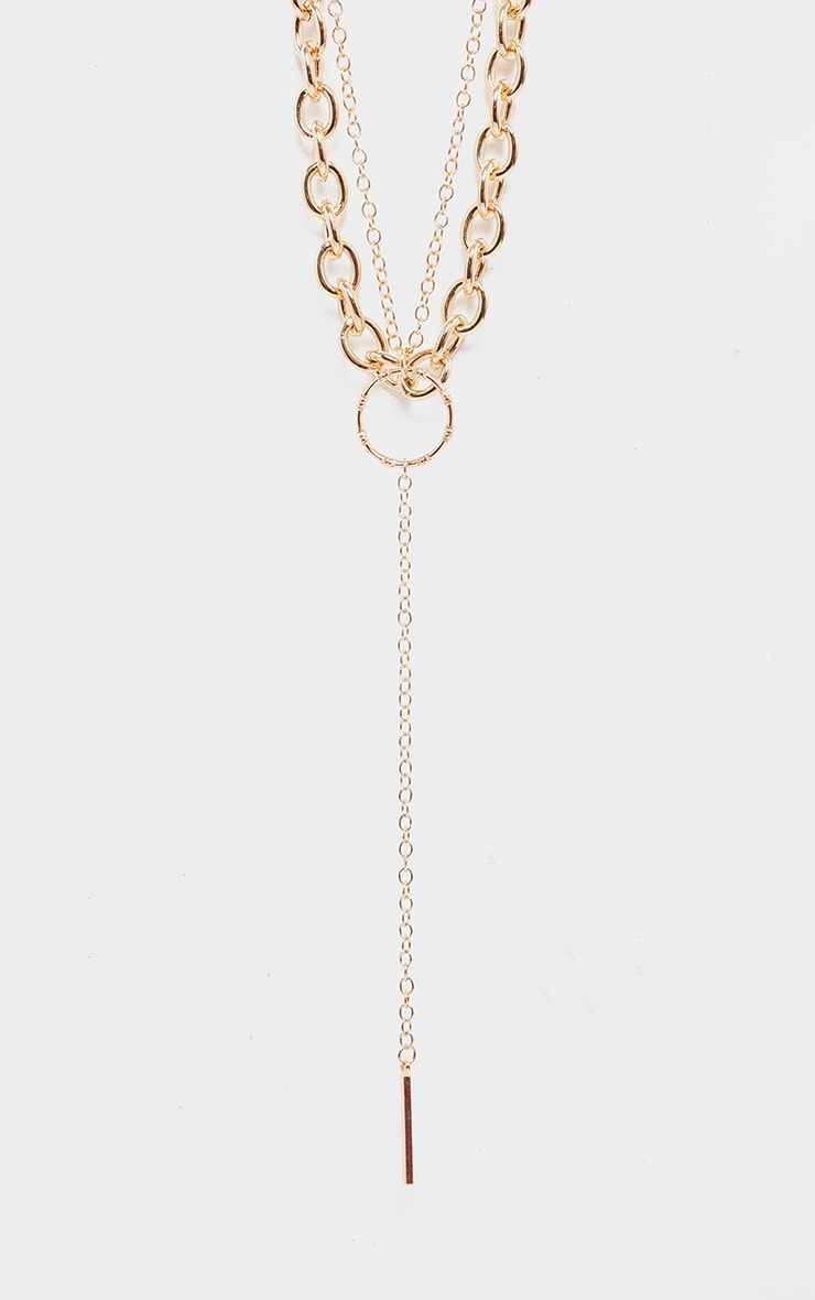 Gold Double Layer Chain And Ring Necklace 3