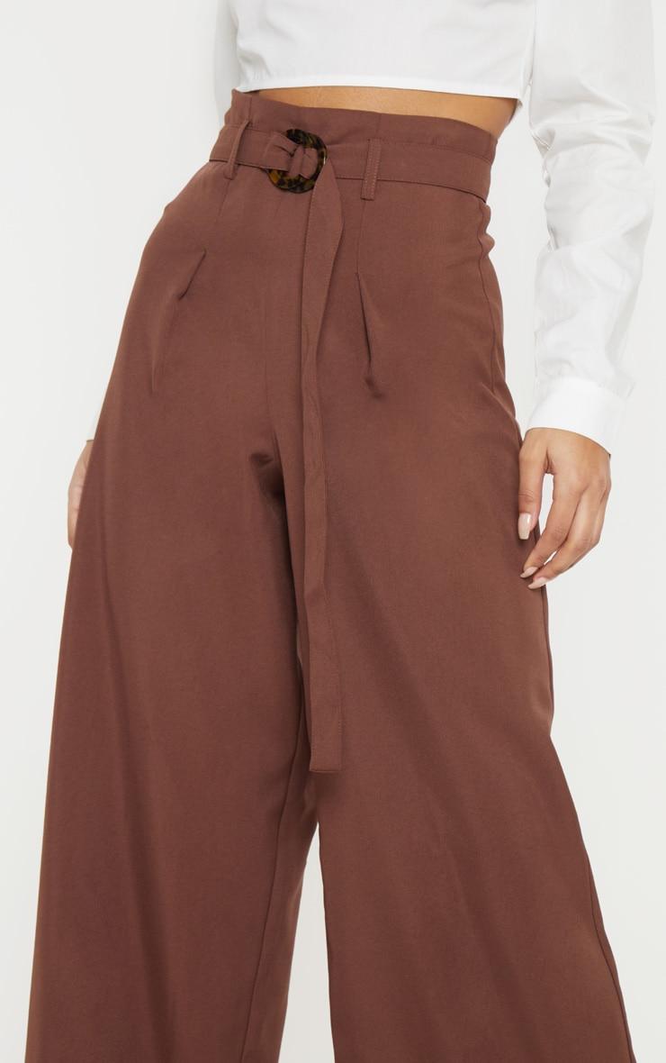 Chocolate Tortoise Shell Ring Belt Wide Leg Pants 5