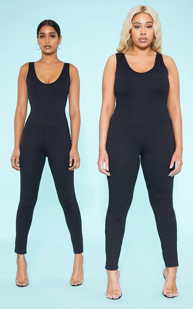 RECYCLED Plus Black Scoop Neck Jumpsuit 1