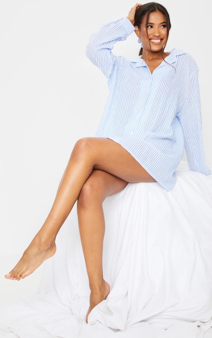 Blue Striped Open Collar Cotton Oversized Nightshirt With Scrunchie 1
