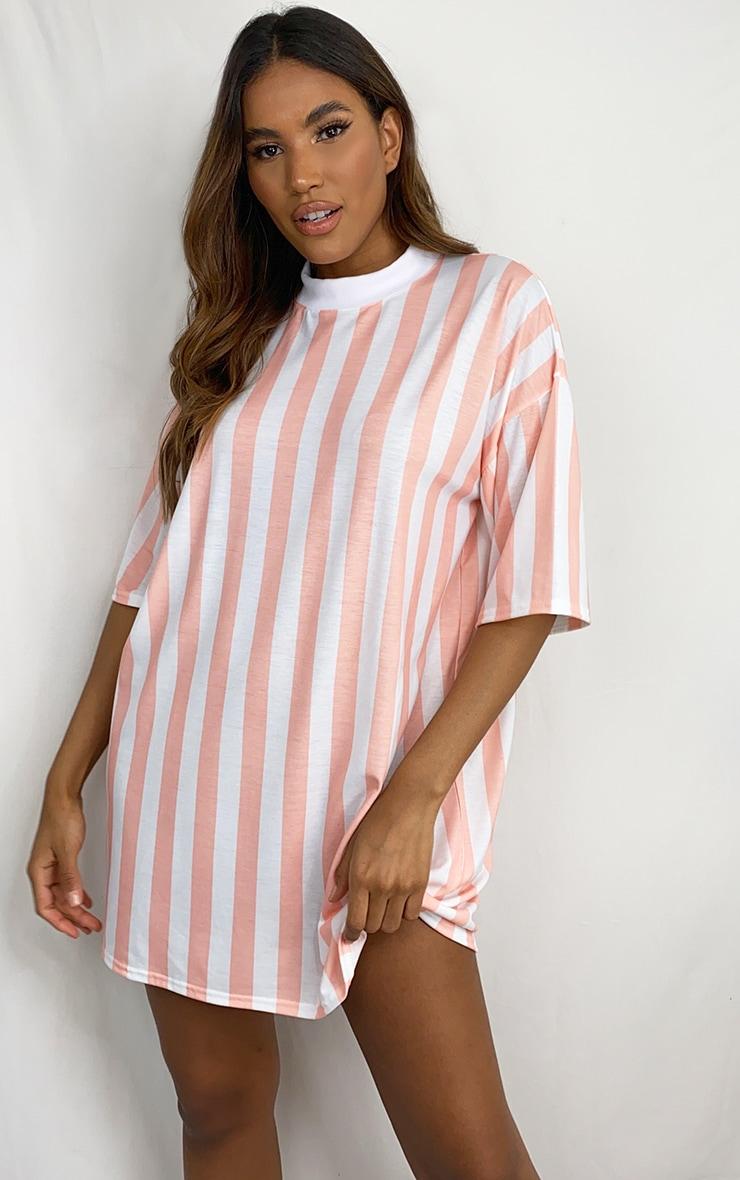 Pink Vertical Stripe T Shirt Dress 1