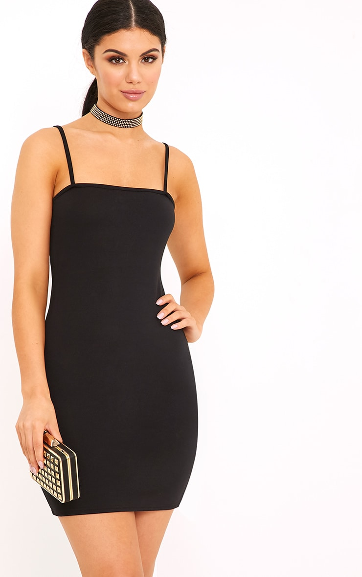 Desri Black Straight Neck Bodycon Dress 1