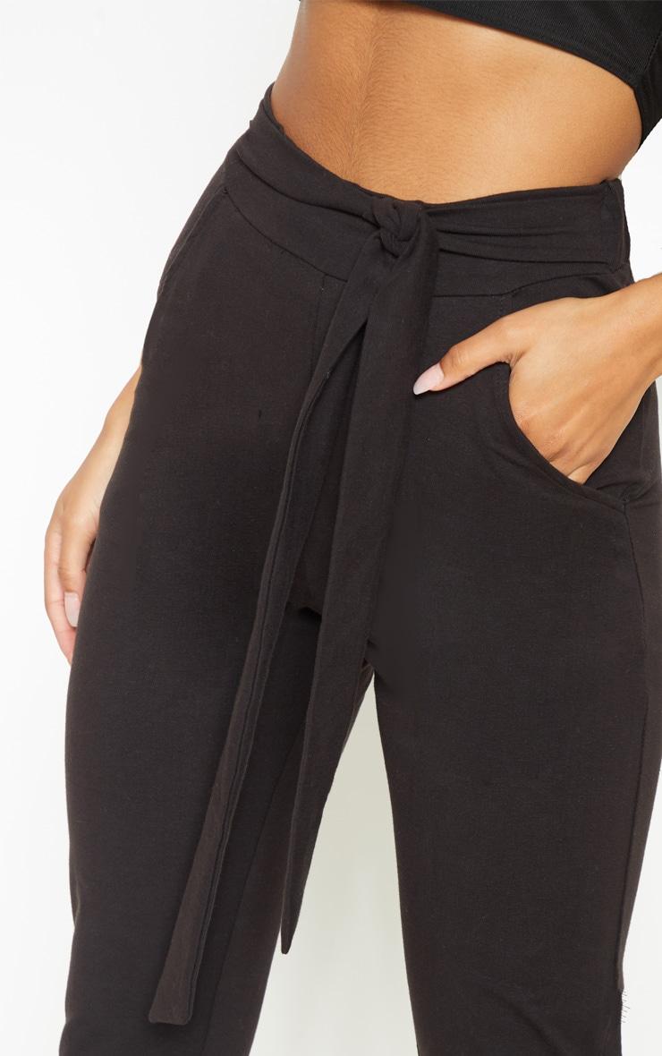 Black Cotton Tie Waist Skinny Trouser 5