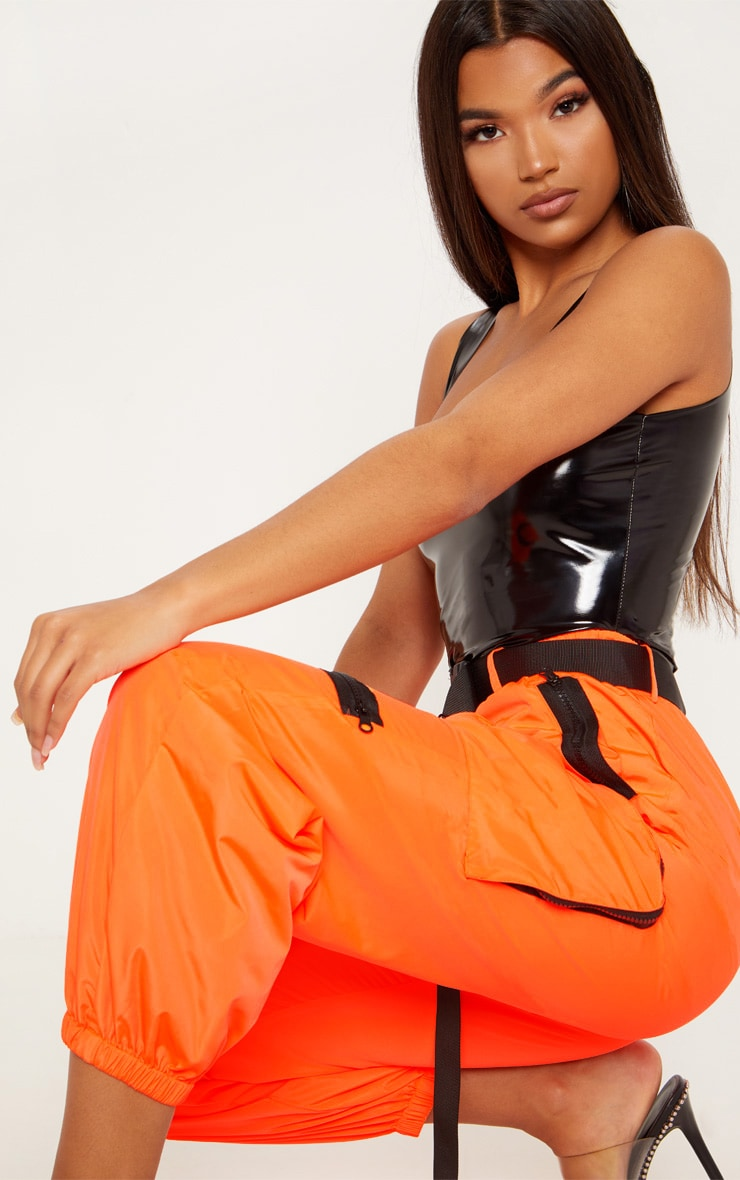 Neon Orange Shell Belted Pocket Detail Joggers 5
