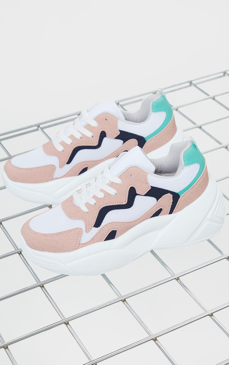 Pink Pu Patterned Chunky Sole Contrast Sneakers 3