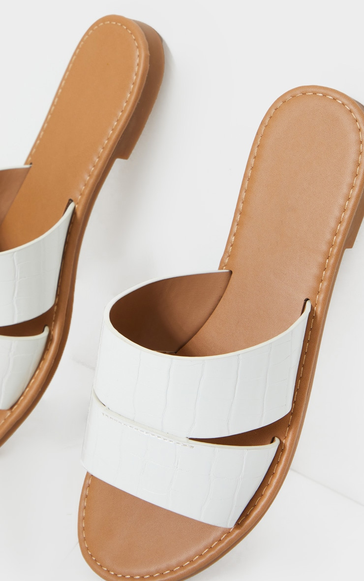White Croc Wide Fit Double Strap Mule Flat Sandal 4