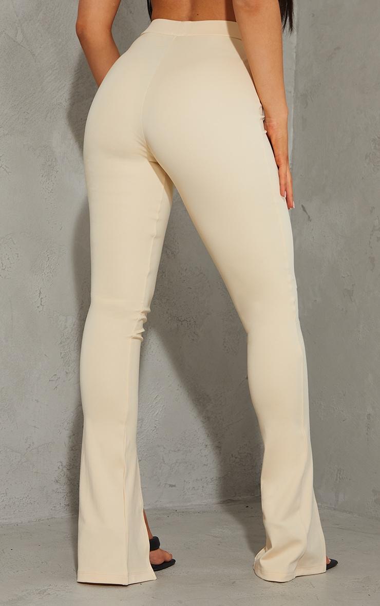 Beige Stretch Scuba Skinny Split Hem Pants 3