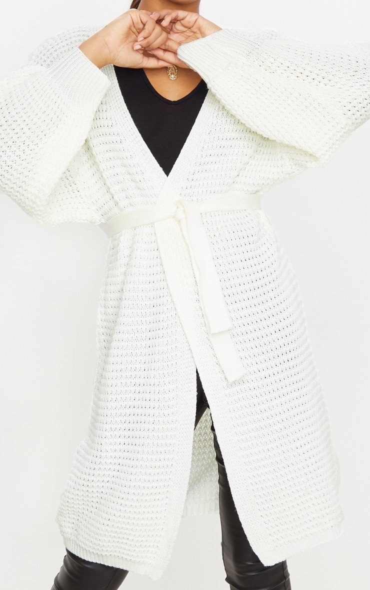 Cream Knitted Longline Belted Cardigan 4
