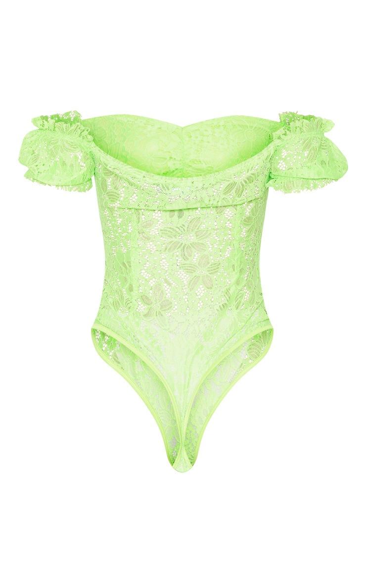 Neon Lime Lace Bardot Bodysuit 4