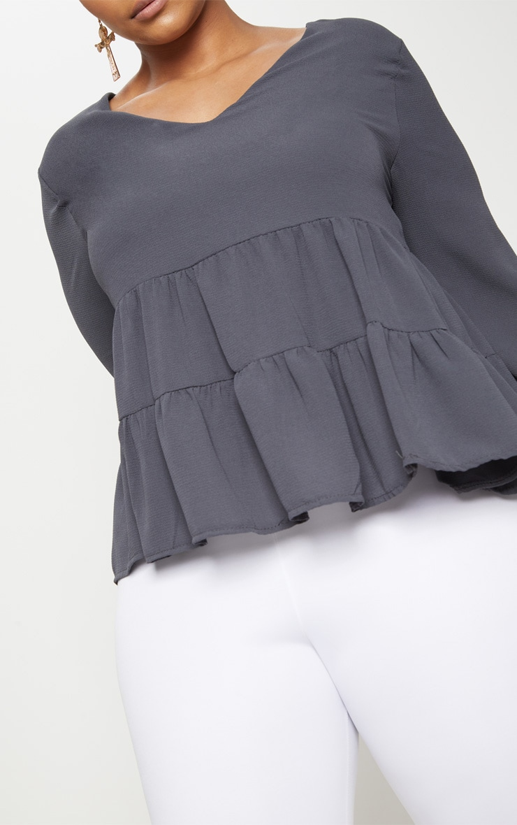 Plus Charcoal Plunge Tiered Shirt 5