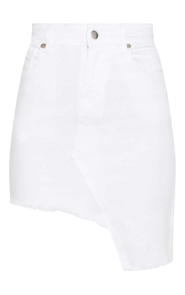 White Step Hem Denim Skirt  3