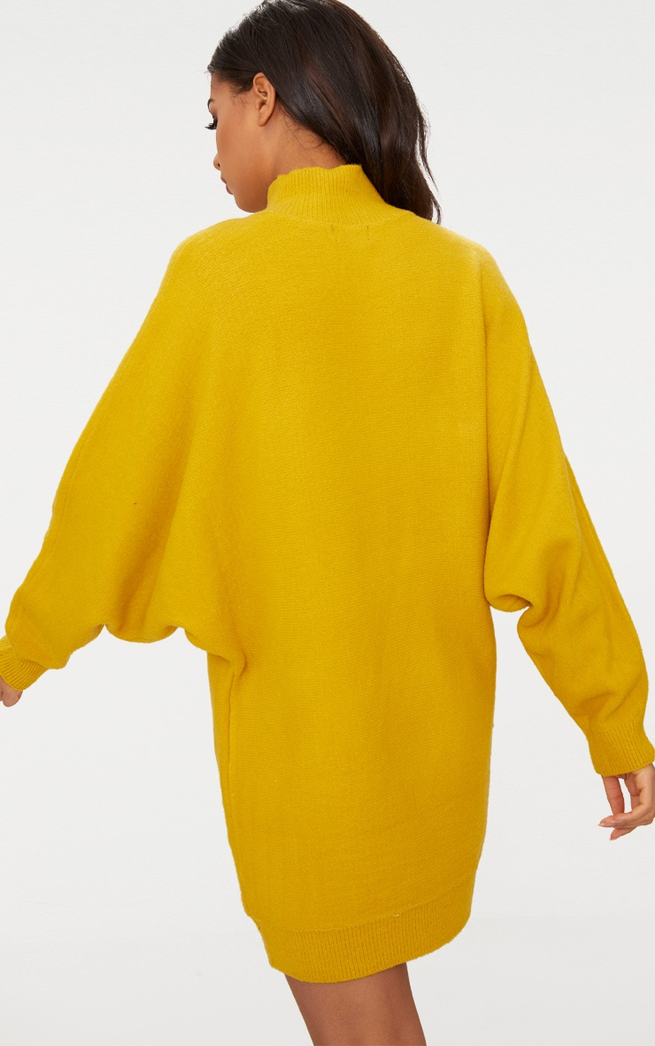 Mustard Oversized Jumper Dress 2
