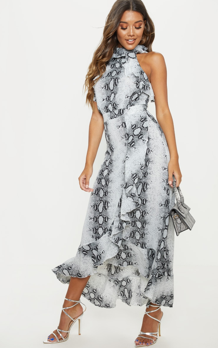 Grey Snake Print Frill Detail Wrap Maxi Dress 4