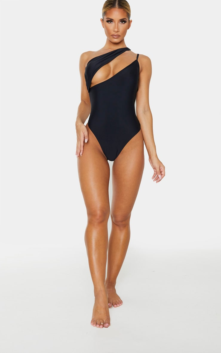 Black Asymmetric Double Strap Swimsuit 4