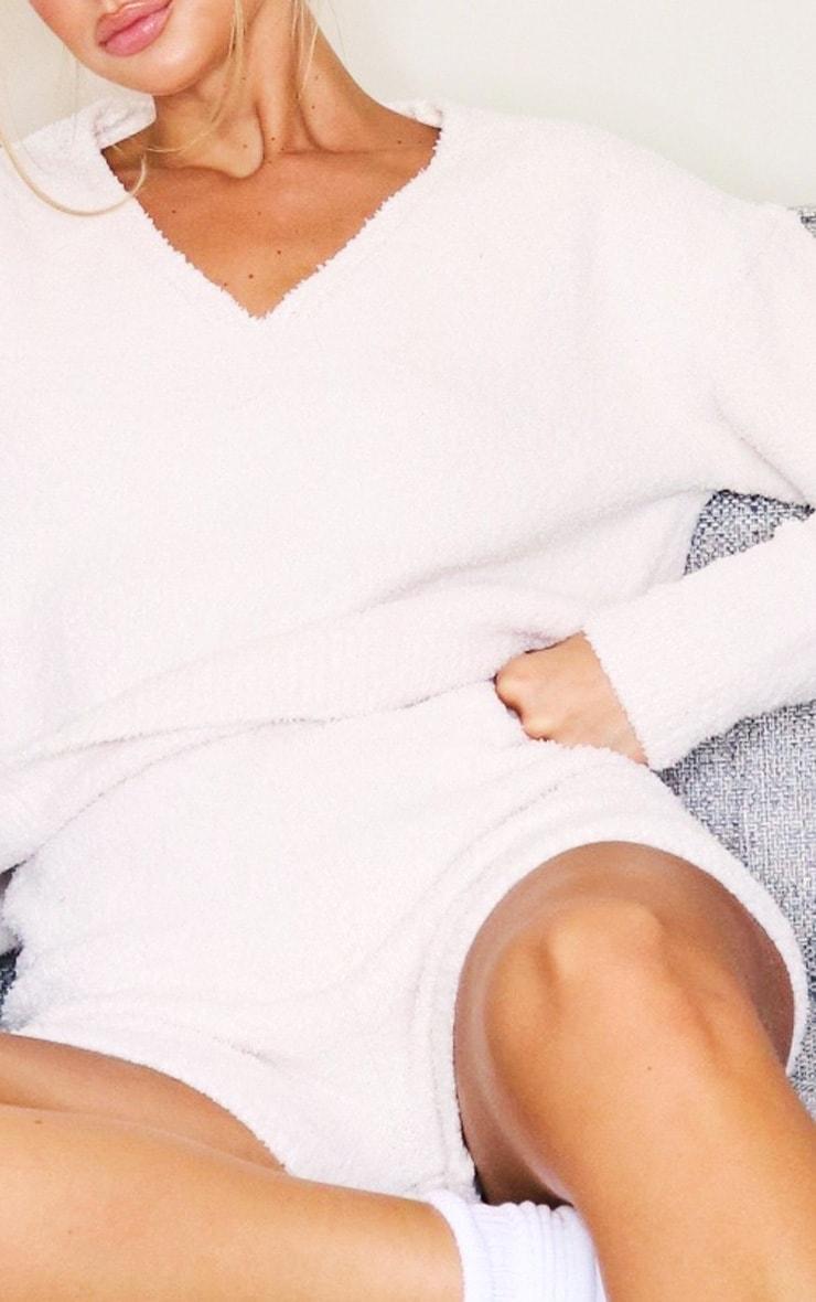 Cream Premium Fluffy Knit Shorts Lounge Set 4
