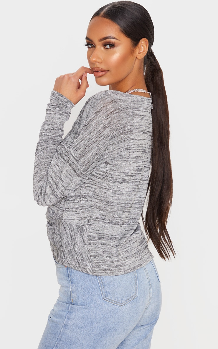 Silver Glitter Knit Twist Front Top 2