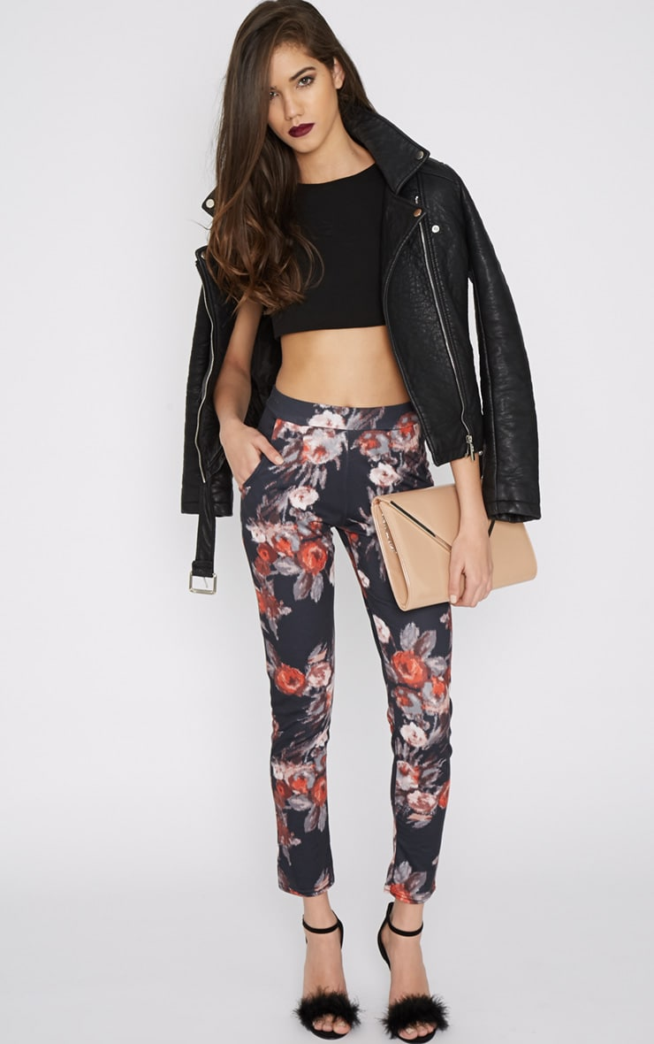Yulia Black Floral Jersey Trouser 1
