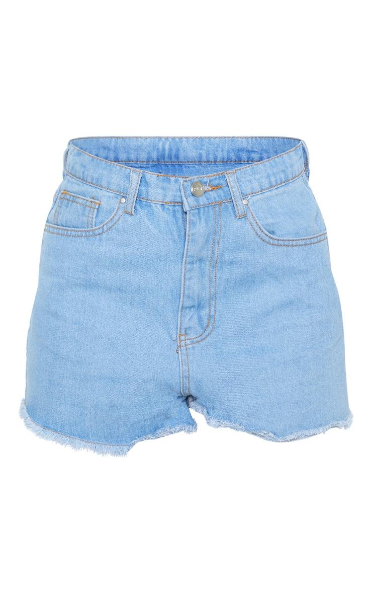 Short en jean délavé à taille haute 3
