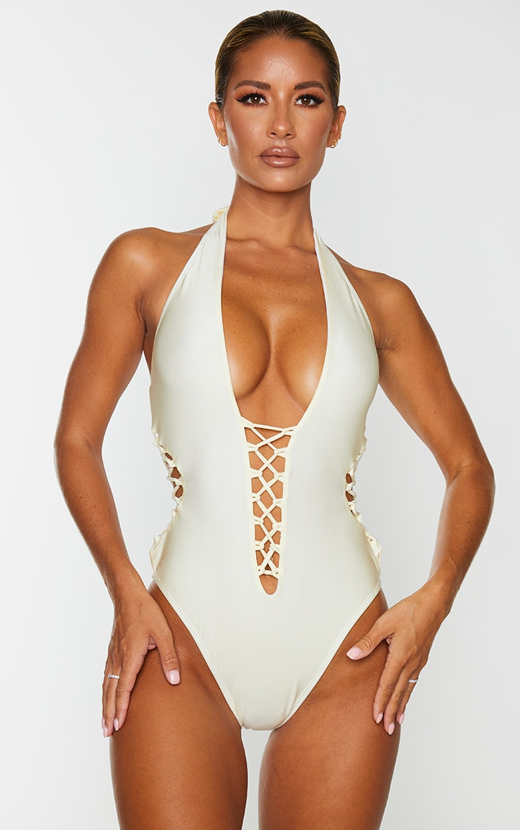 Cream Laced Detail Plunge Swimsuit 1