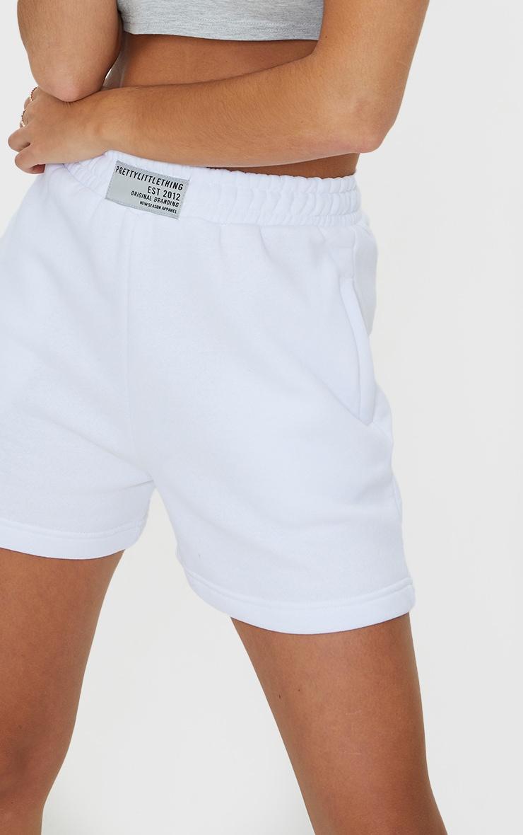 PRETTYLITTLETHING White Badge Sweat Shorts 5
