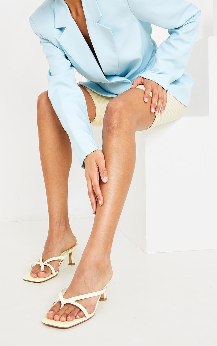 Lemon Pu Square Toe Thong Strap Low Heeled Mule Sandals 2