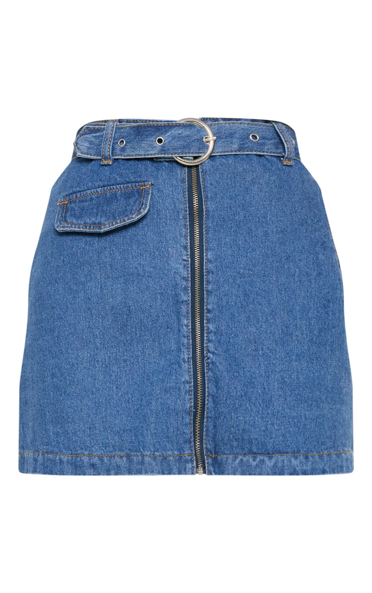 Mid Wash Zip Through Belted Denim Skirt 3