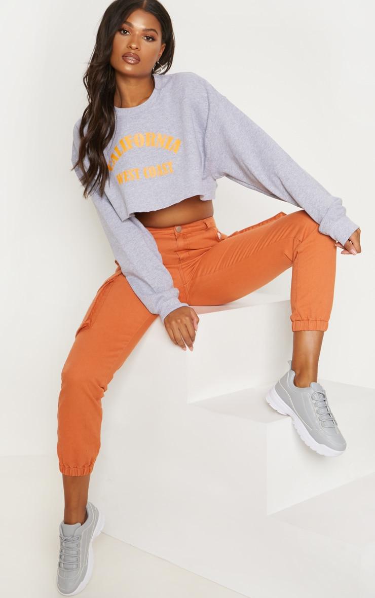 Grey Marl California Orange Slogan Crop Sweater 4
