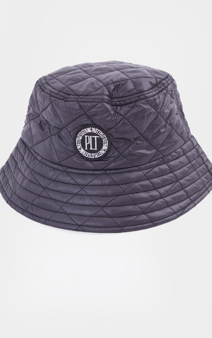 PRETTYLITTLETHING Black Quilted Badge Bucket Hat 2