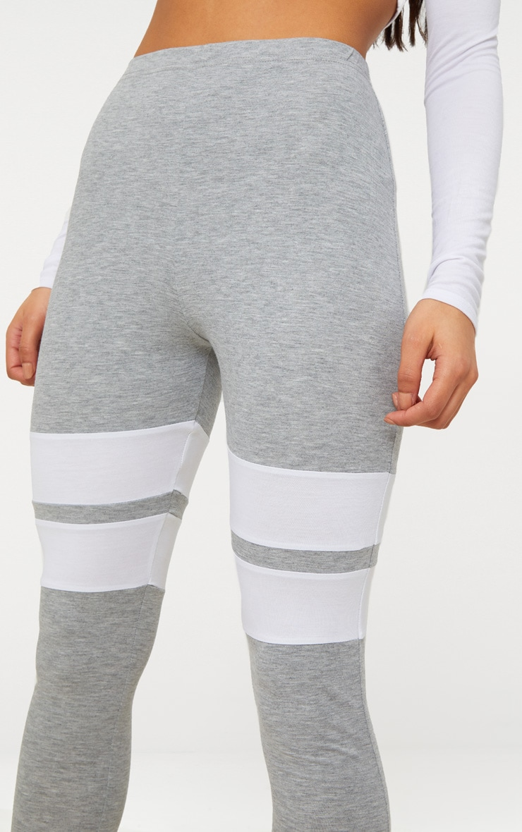 Grey Marl Double Track Stripe Legging  5