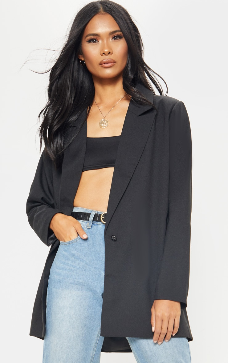 Black Super Oversized Woven Blazer 1