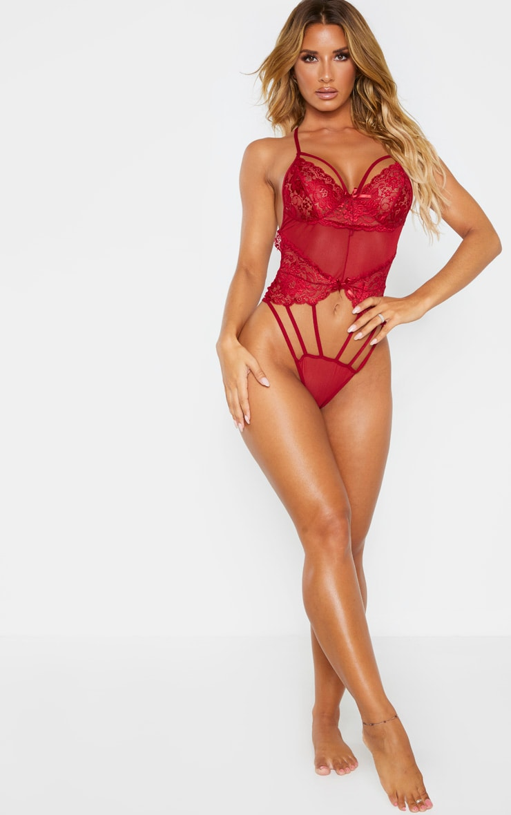 Red Strapping Detail Lace Body 4