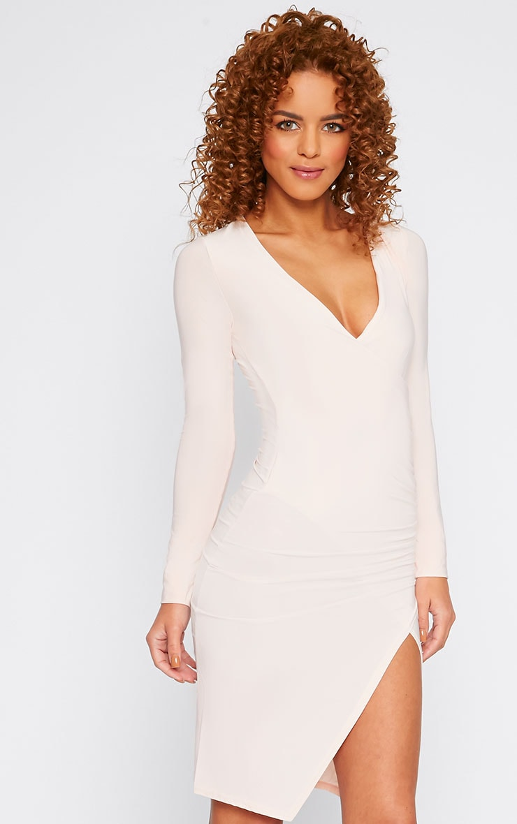 Iona Nude Slinky Wrap Over Gathered Mini Dress 1