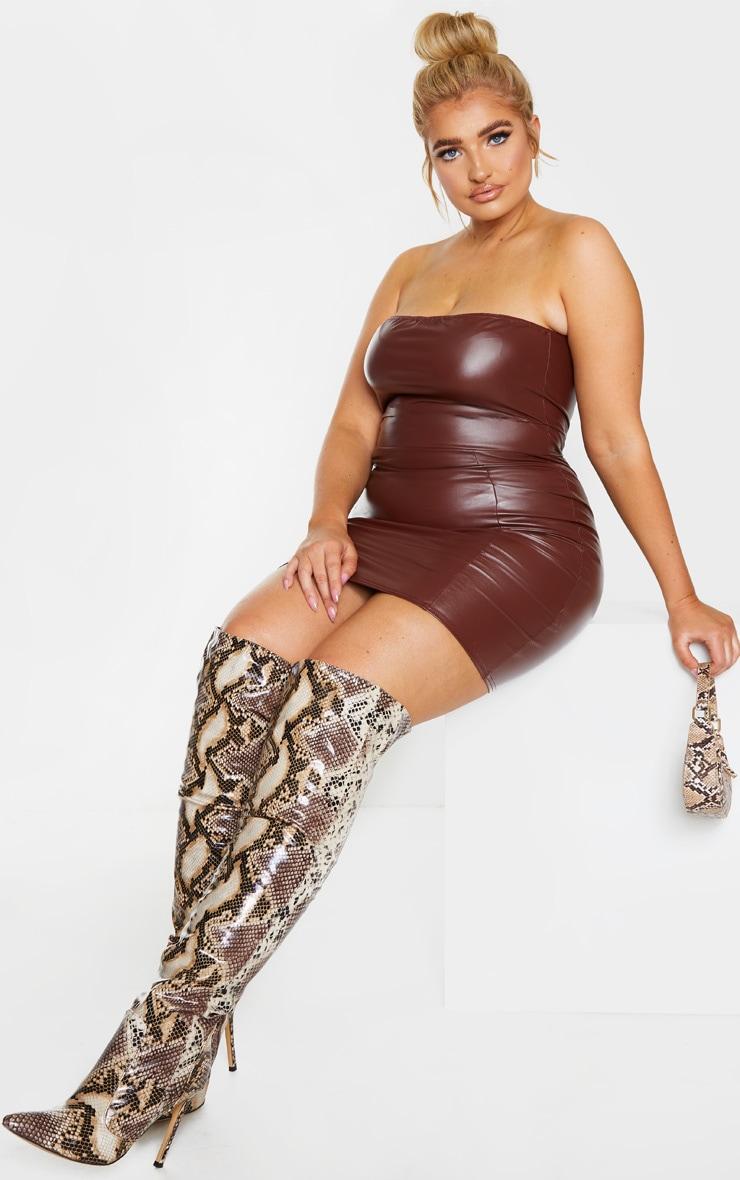 Plus Chocolate Brown PU Seam Detail Bandeau Bodycon Dress 3