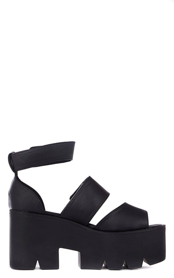 Anna Black Cleated Sole Flatform Velcro Sandals 4
