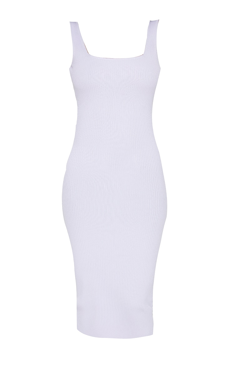 Lilac Square Neck Low Back Knitted Midi Dress 5