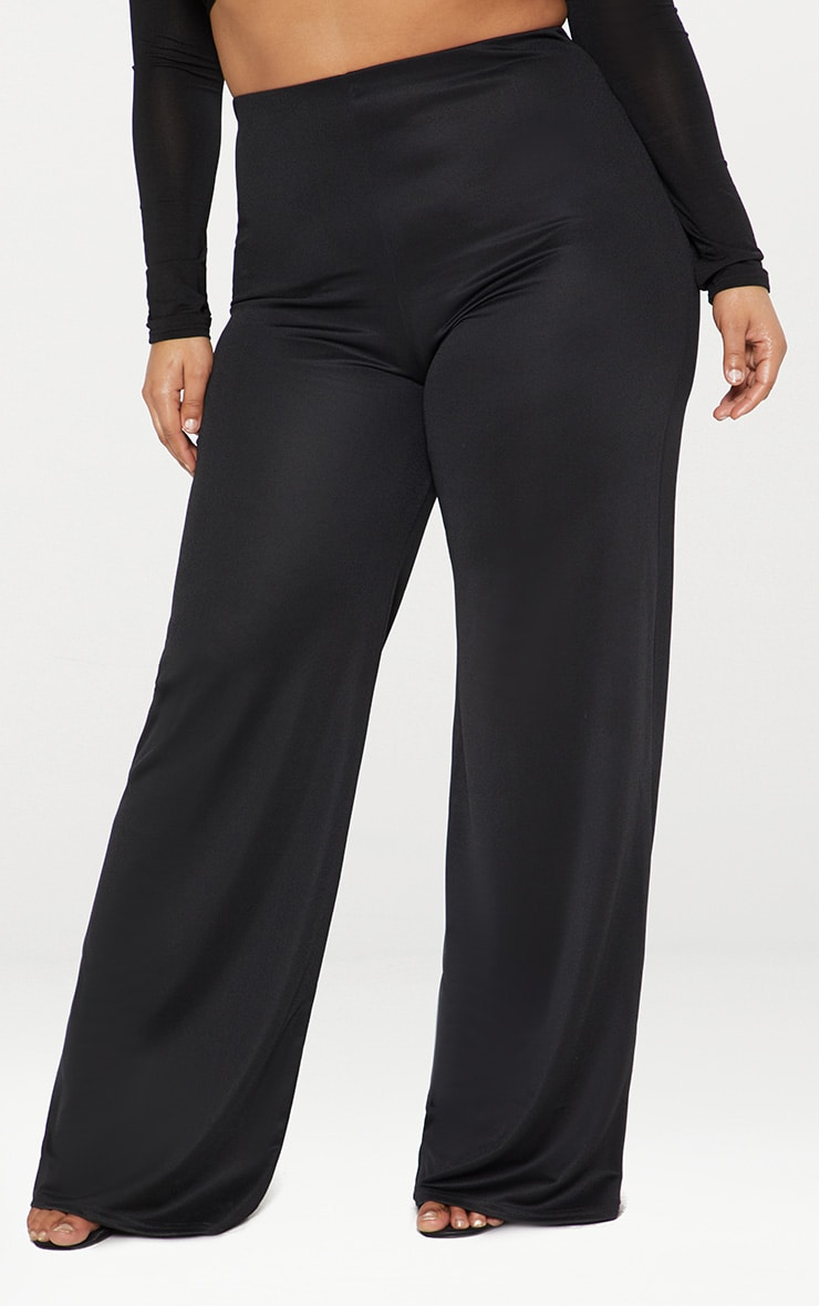 Plus Black High Waisted Wide Leg Trousers 2
