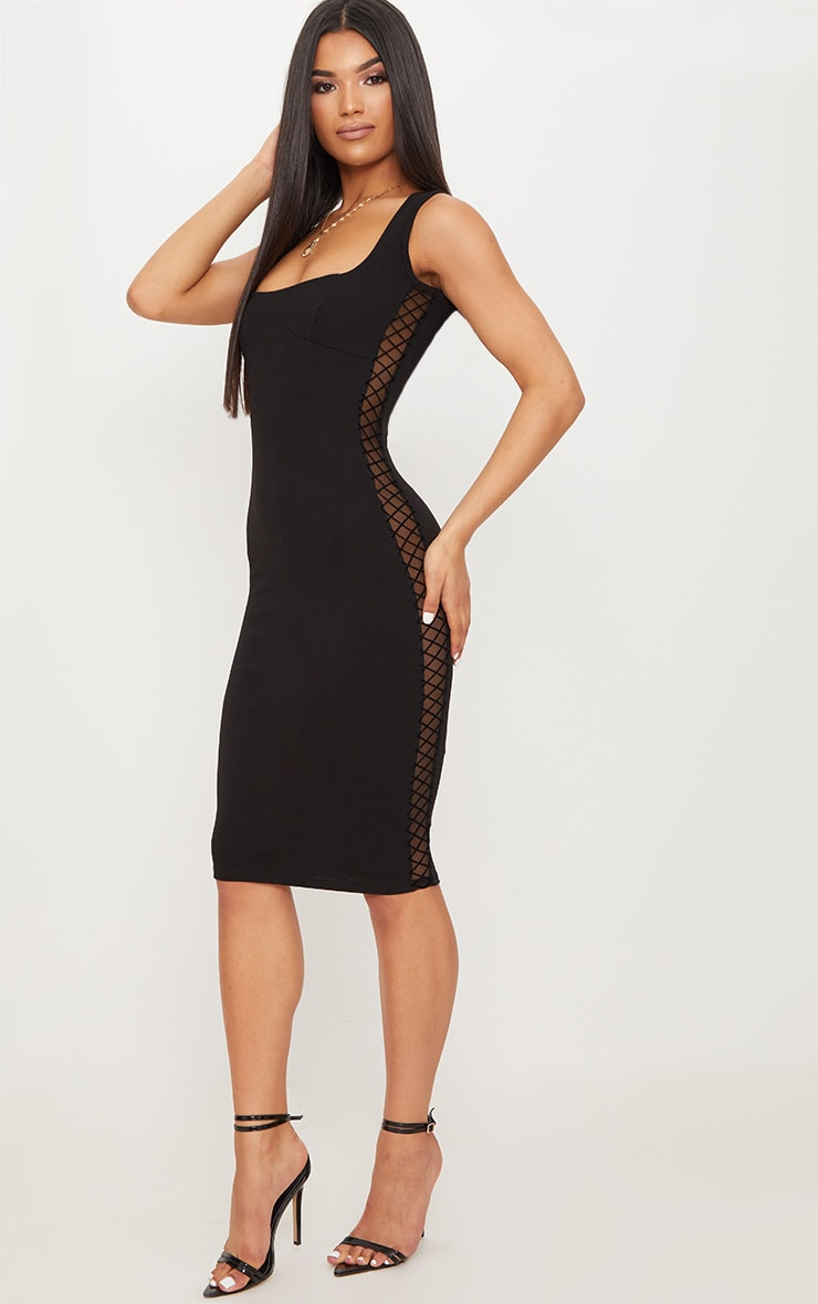 Black Mesh Side Square Neck Midi Dress 1