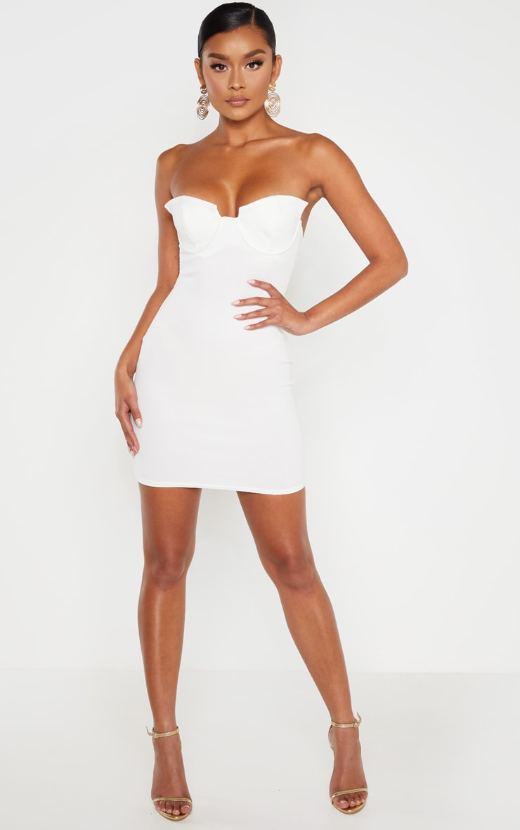 White Winged Bandeau Bodycon Dress 4