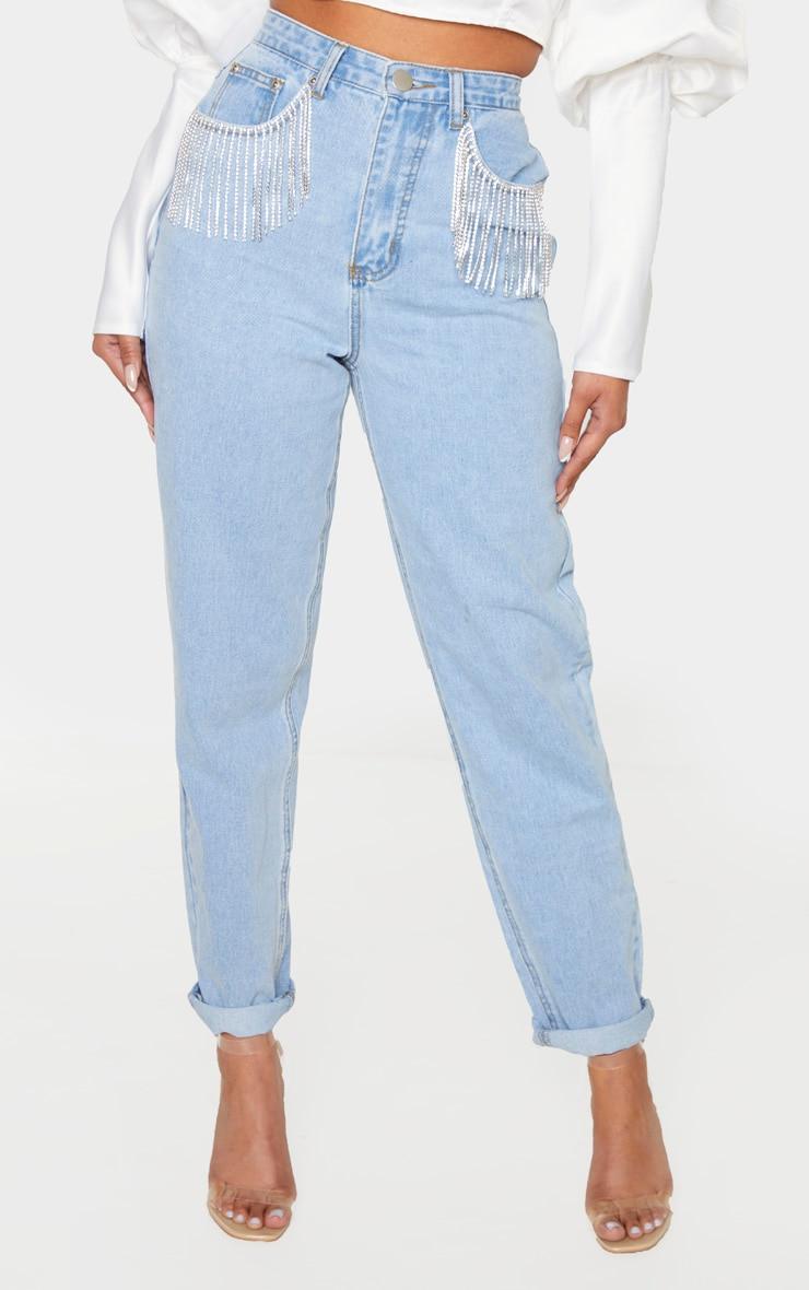 Light Blue Wash Diamante Tassel Pocket Jeans 2