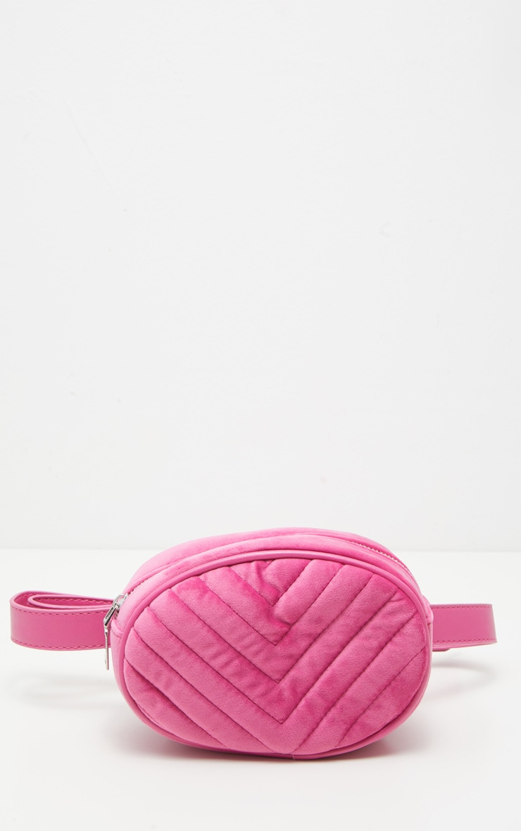 Pink Velvet Chevron Quilted Bum Bag 4