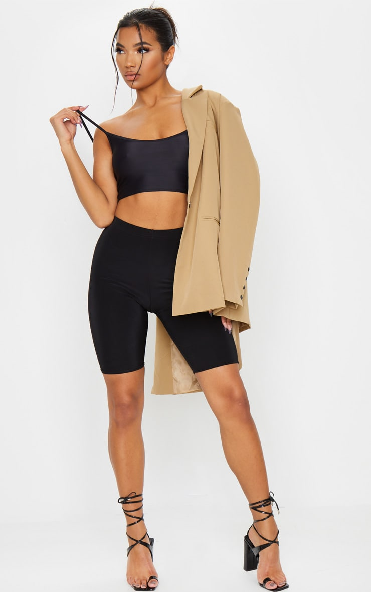 Black Stretch Slinky Scoop Neck Crop Top 3